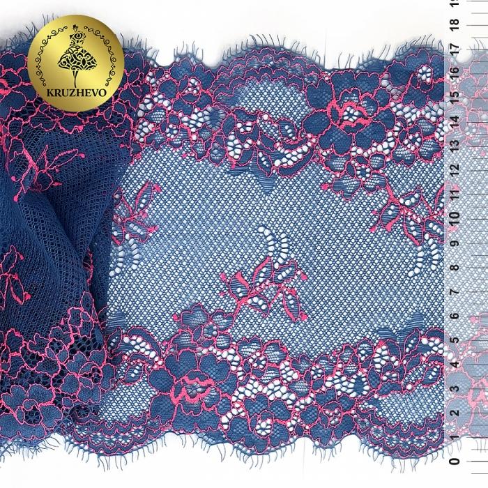 Кружево эластичное с ресничками KRUZHEVO арт.TBY.B4 шир.170мм цв.голубой с розовым кордом уп.10м