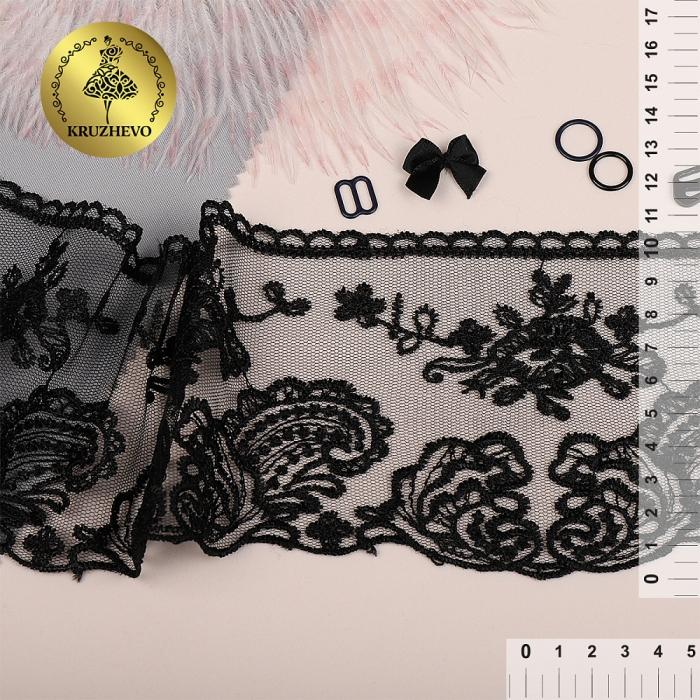 Кружево на сетке арт.TBY.BL.40467 шир.105мм цв.19 черный уп.13,71м