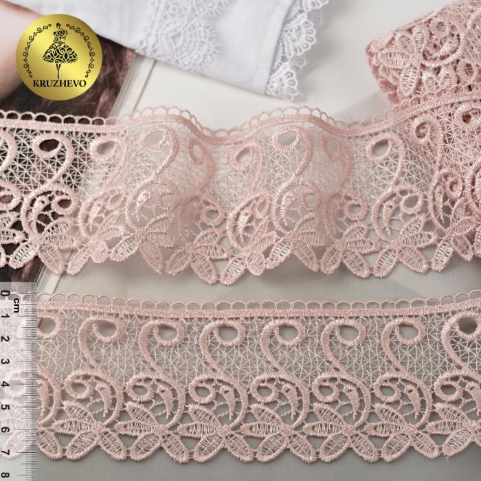Кружево гипюр KRUZHEVO арт.TR 1416 шир.70мм цв.17 розовый уп.9м
