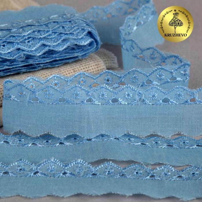 Кружево шитье арт.ТСВ-1018 шир.2,5см цв.182 голубой 100% п/э, уп.13,71м