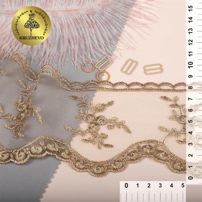 Кружево на жесткой сетке Exclusive арт.TBY 3BS824K шир.85мм цв.N6115 золотисто-бежевый уп.13,71м