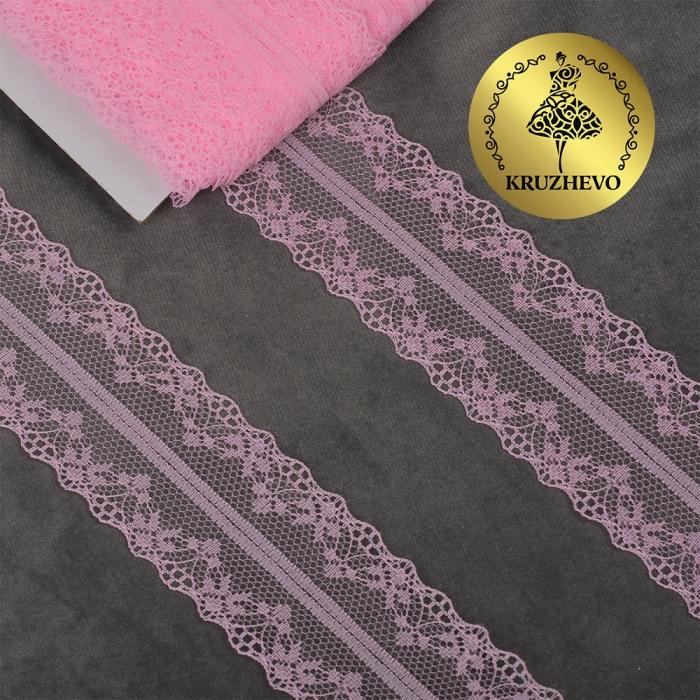 Кружево-трикотаж KRUZHEVO арт.TBY 150-1 шир.40мм цв.12 розовый, уп.27,4м