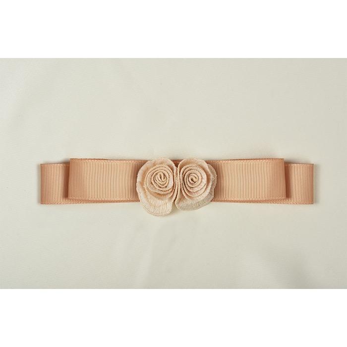 Вставка из лент с розами арт.TBY.HTEX.20.2 160х25мм цв.розово-персиковый уп.5шт