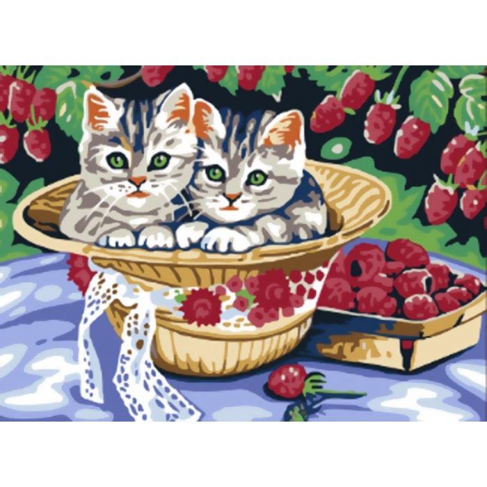Картины по номерам Белоснежка арт.БЛ.013-CE Котята в саду 30х40 см
