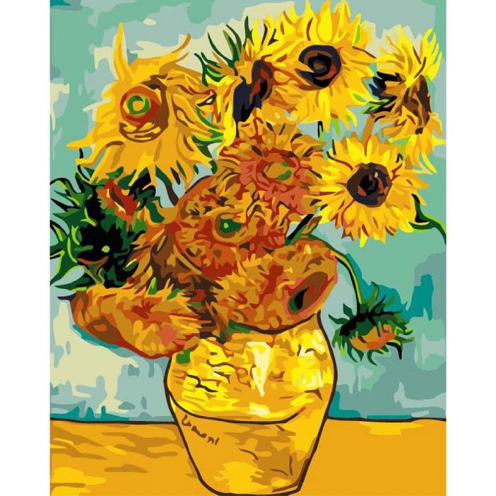 Картины по номерам Ваза с двенадцатью подсолнухами. Ван Гог MG098 40х50 тм Цветной
