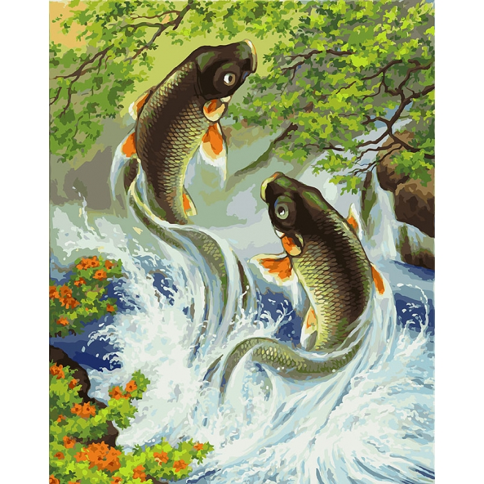 Картины по номерам Белоснежка арт.БЛ.005-AB Прыгающие карпы 40х50 см