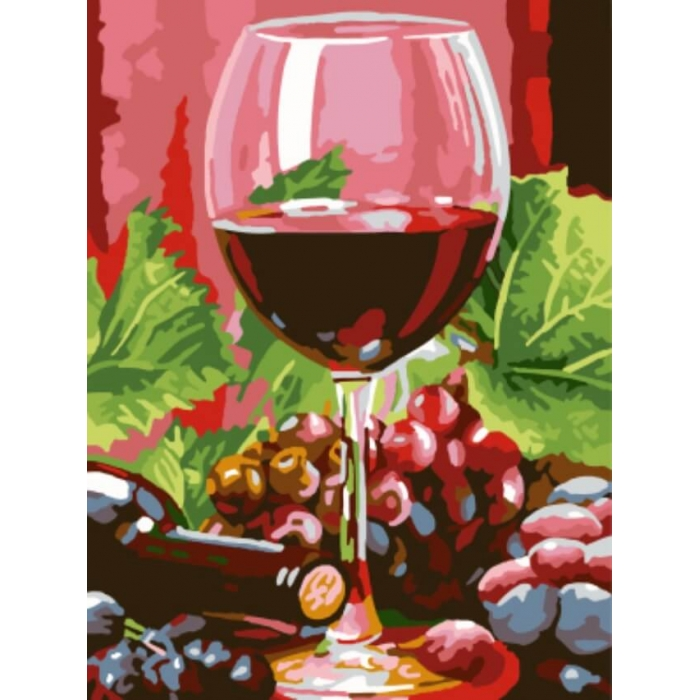 Картины по номерам Бокал красного вина EX5308 30х40 тм Цветной
