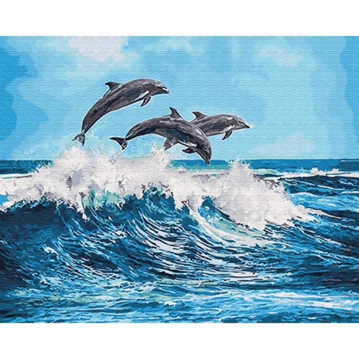 Картины по номерам Дельфины над волной GX26749 40х50 тм Цветной